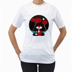 The Red Fox Womens  T Shirt (white)