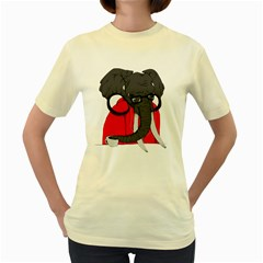 Hipsterphant  Womens  T-shirt (Yellow)
