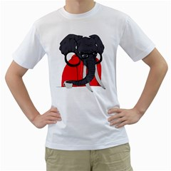 Hipsterphant Mens  T-shirt (White)
