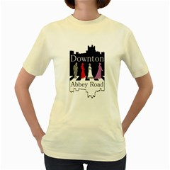 Downton Abbey Road  Womens  T-shirt (Yellow)