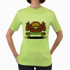 Bear Baller  Womens  T-shirt (Green)