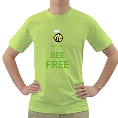 KEEP CALM AND BEE FREE  Mens  T-shirt (Green)