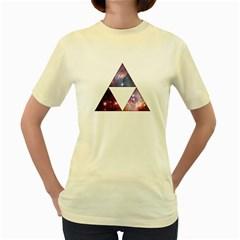 Cosmic Triforce  Womens  T-shirt (Yellow)