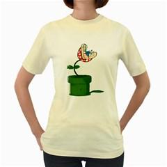 Piranha Plant  Womens  T-shirt (Yellow)