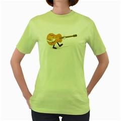 Solo Guitar Womens  T-shirt (Green)