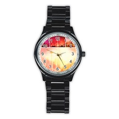 Shades of Red Space Needle Sport Metal Watch (Black)