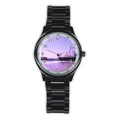 Santa Monica Pier Purple Hearts Sport Metal Watch (black)