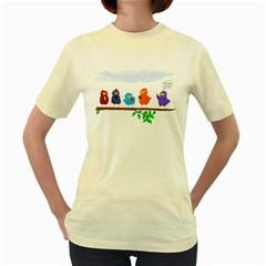 Birds twitting.  Womens  T-shirt (Yellow)
