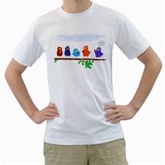 Birds Twitting  Mens  T Shirt (white)