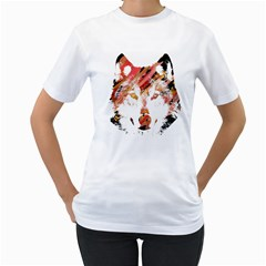 Wolf Womens  T-shirt (White)