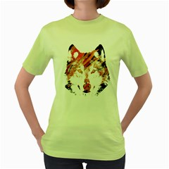 Wolf Womens  T-shirt (Green)