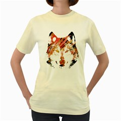 Wolf  Womens  T Shirt (yellow)