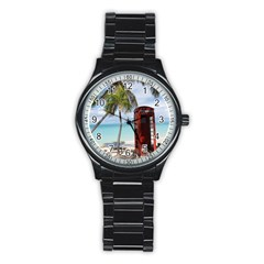 Red Public Telephone Booth On Antigua Sport Metal Watch (black)