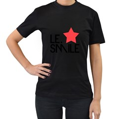 Le. Smile Womens' Two Sided T-shirt (Black)