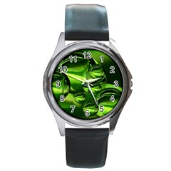 Balls Round Leather Watch (Silver Rim)