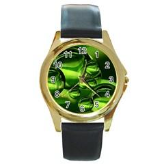 Balls Round Leather Watch (Gold Rim)