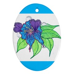Flower Design Oval Ornament (Two Sides)