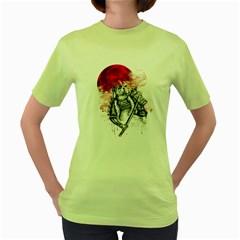 Undead Samurai Womens  T-shirt (Green)
