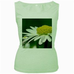 Daisy With Drops Womens  Tank Top (Green)