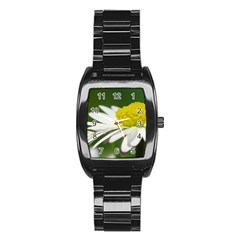 Daisy With Drops Stainless Steel Barrel Watch