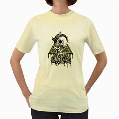 Skull & Tattoo  Womens  T Shirt (yellow)