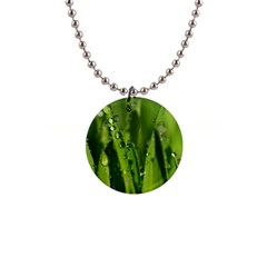 Grass Drops Button Necklace