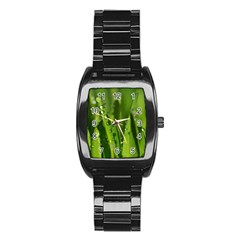 Grass Drops Stainless Steel Barrel Watch