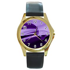 Drops Round Leather Watch (Gold Rim)
