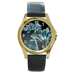 Osterspermum Round Leather Watch (gold Rim)