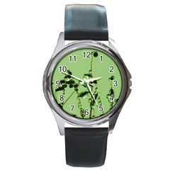 Mint Drops  Round Leather Watch (Silver Rim)
