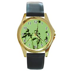Mint Drops  Round Leather Watch (Gold Rim)