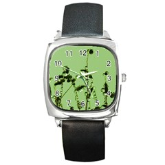 Mint Drops  Square Leather Watch