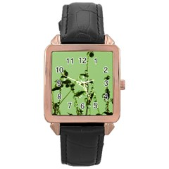 Mint Drops  Rose Gold Leather Watch