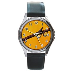 Tree Drops  Round Leather Watch (Silver Rim)