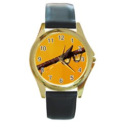 Tree Drops  Round Leather Watch (Gold Rim)