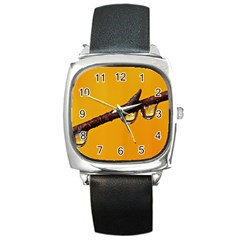 Tree Drops  Square Leather Watch