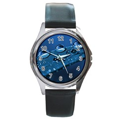 Drops Round Leather Watch (silver Rim)