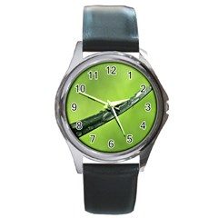 Green Drops Round Leather Watch (Silver Rim)