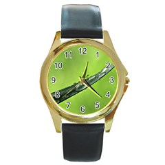 Green Drops Round Leather Watch (Gold Rim)