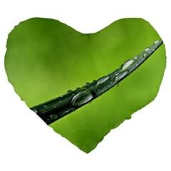 Green Drops 19  Premium Heart Shape Cushion