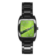 Green Drops Stainless Steel Barrel Watch
