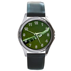 Grass Drops Round Leather Watch (silver Rim)