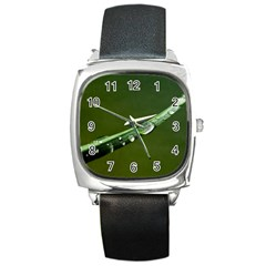 Grass Drops Square Leather Watch