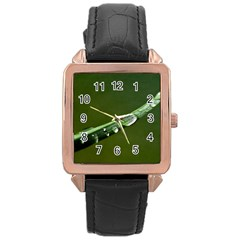 Grass Drops Rose Gold Leather Watch