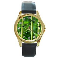 Bamboo Round Leather Watch (Gold Rim)