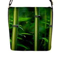 Bamboo Flap Closure Messenger Bag (Large)