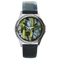 Bamboo Round Leather Watch (silver Rim)