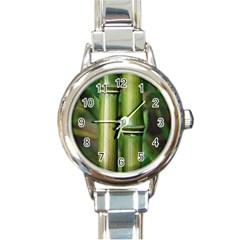 Bamboo Round Italian Charm Watch