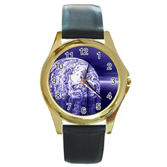 Ball Round Leather Watch (Gold Rim)