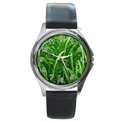 Grass Round Leather Watch (Silver Rim)